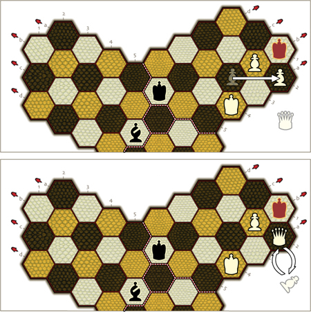drawing of the 4P3 board with pawn promotion shown
