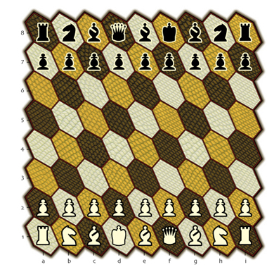 Illustration of Hexes 9-pawn chess.